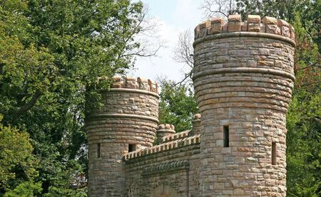 turrets: Stone gates and turrets on an old castle