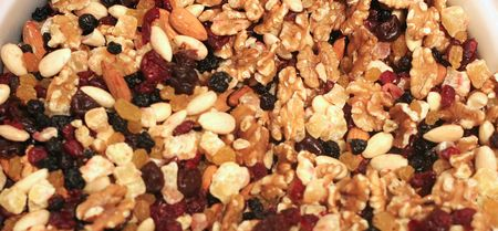 A trail mix of nuts and dried fruit Banco de Imagens