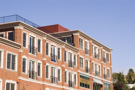 New condominiums in an old part of town Stock Photo