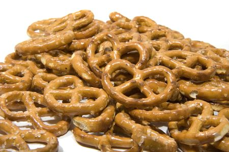 pretzels: Some Traditional shaped pretzels isolated on white