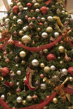 A nice decorated Christmas tree with balls and ribbons Stock Photo - 2167603