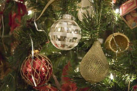 Silver red and gold ornaments on a christmas tree Stock Photo - 2167623