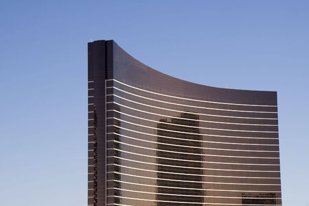 premises: A curved black and white high rise hotel in las vegas