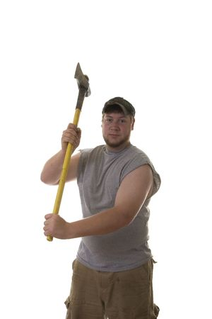 sweats: A young scruffy looking man with an axe aimed at the camera