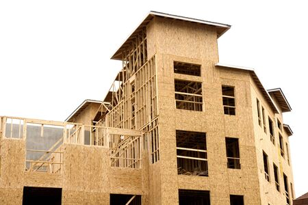 sheathing: Wood construction at a new apartment building job site