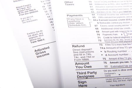 exemptions: U.S. Income Tax Forms on a white background