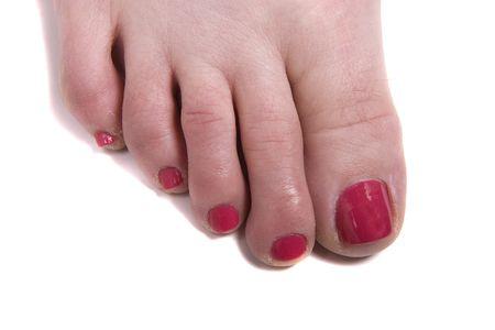 uñas pintadas: Un desnudo de la mujer pie después de una pedicura  Foto de archivo