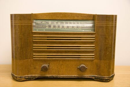 short wave: An old wooden antique short wave radio Stock Photo