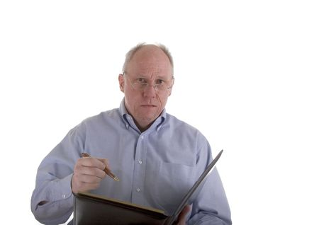 grouchy: An old guy in a blue shirt with pen and pad. An insurance adjuster, estimator, or bill collector