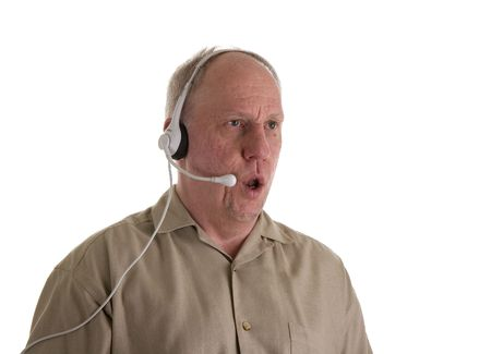 A customer service person in a telephone headset saying no Imagens - 3141075
