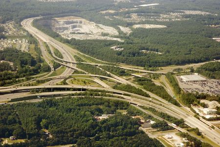 A major interstate intersection shot from above photo