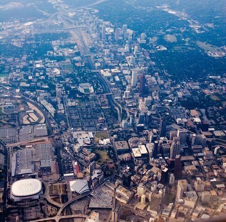 View of Downtown Atlanta shot from the sky