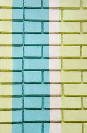 An old brick wall painted green, blue, and white Stock Photo - 3484264