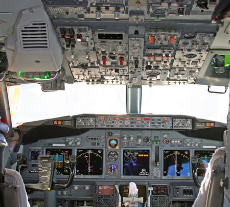 controls: Cockpit in modern airliner Stock Photo