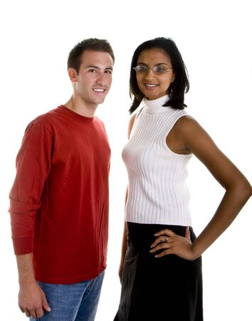 dressy: A casually dressed white man and a dressy Indian woman posing against white