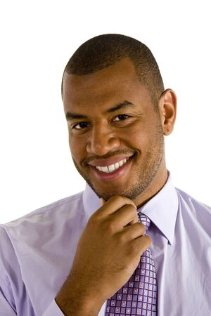 nice looking: A nice looking black executive smiling with hand on chin