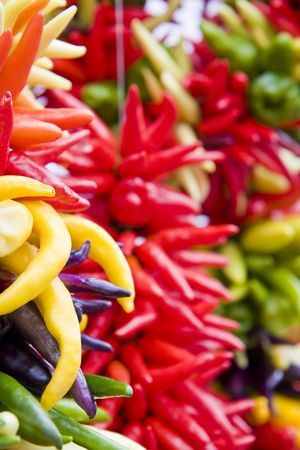 Many types of yellow and red peppers hanging in a market Imagens