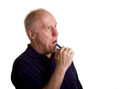 彼の歯を磨く、古いハゲ男