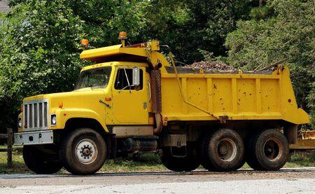 dump truck: Yellow dump truck