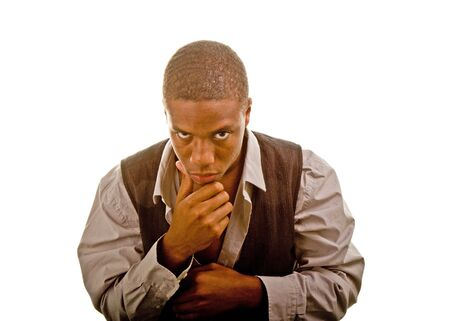 Young black man dressed casually with hand on chin Banco de Imagens
