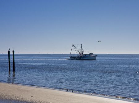 shrimp boat: A shrimp boat working the calm blue water off the coast