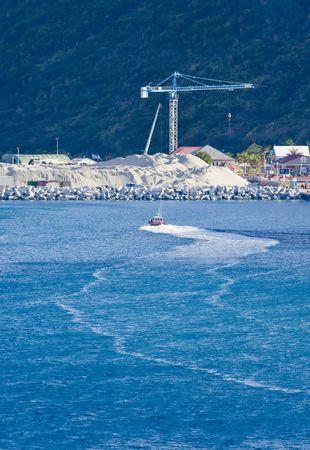 Een kustmijnbouw en bouwwerkzaamheden