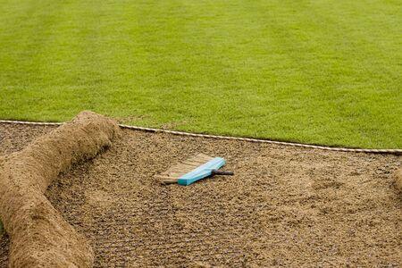 설치되는 새로운 잔디밭