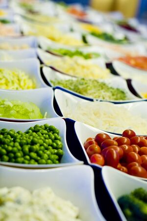 A selection of cut vegetables for a salad bar Stok Fotoğraf