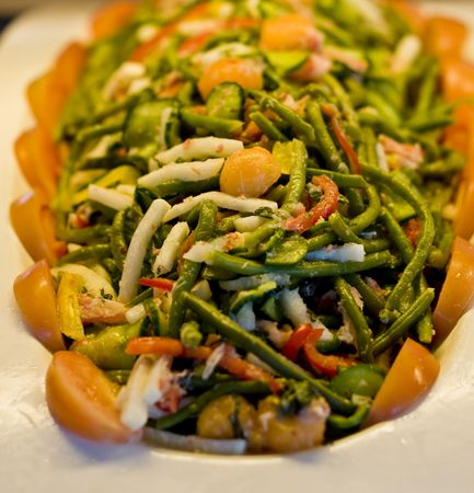 long bean: A fresh salad of green beans and vegetables Stock Photo