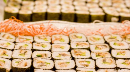 Maki or california rolls in a japanese restaurant