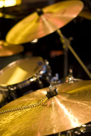 cymbals: A drum kit on a stage Stock Photo