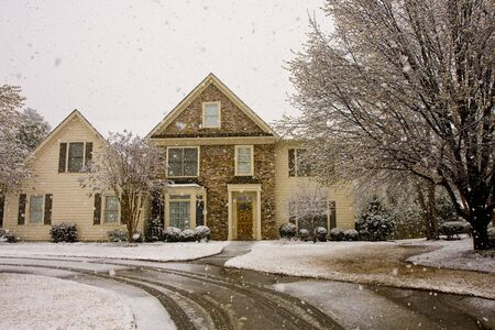A nice house in a snow storm