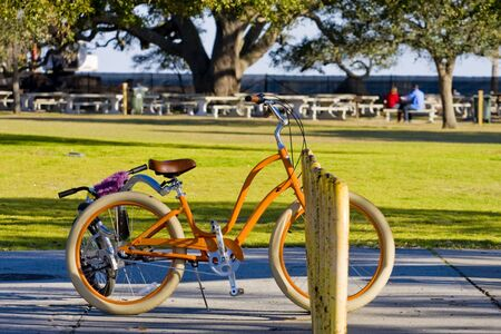 An orange bike by the green grass of a seaside park photo