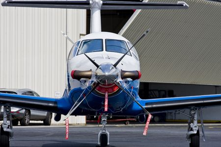 twin engine: New prop plane outside of hanger