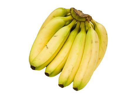 A bunch of yellow bananas on a white background