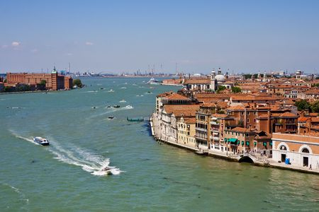 A view of a canal in Venice Italy Stock Photo