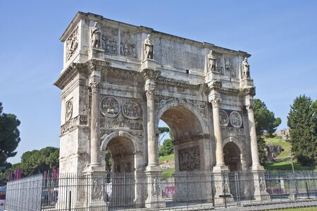 An ancient gate outside the Coliseum in Rome, Italy