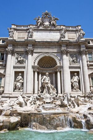 Close view of Neptune at the Trevi fountain in Rome, Italy