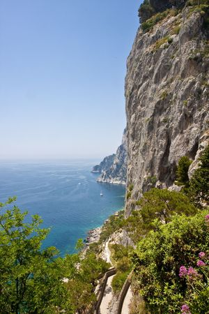 The cliffs of Capri Italy and the ocean beyond Stock Photo - 5431628