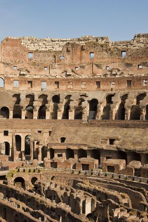 Interior shot of the ancient coliseum in Rome, Italy Banco de Imagens