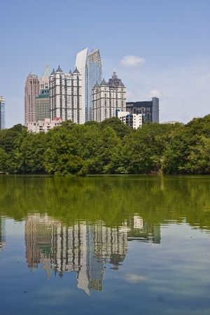 piedmont: A view of the Atlanta Skyline shot from Piedmont Park with reflections in lake Stock Photo