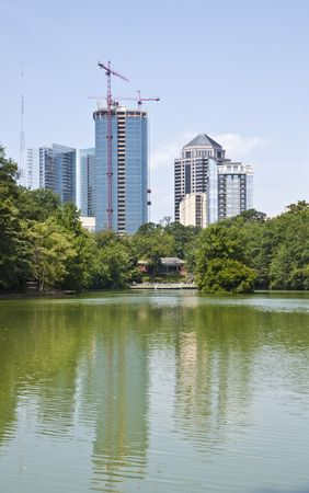 A view of the Atlanta Skyline shot from Piedmont Park with reflections in lake Stock Photo - 5793358