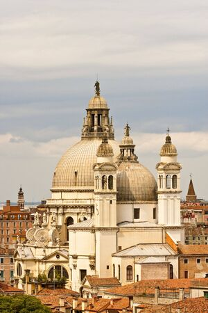 View of Iconic Venice Church Across Rooftops