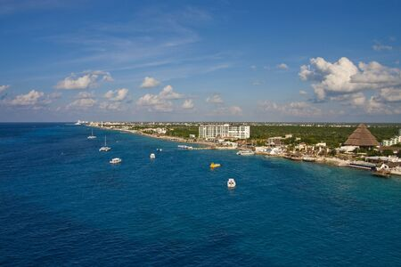 cozumel: The coast of Cozumel, Mexico from the sea