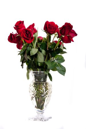A cut glass crystal vase of red roses on a white background