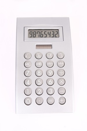 A silver calculator on a white background Stock fotó