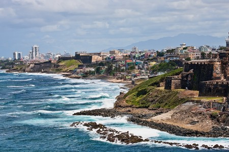 puerto rico: The rocky coast of Puerto Rico at El Morro