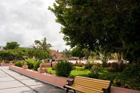 cozumel: A nice public park in a square in Cozumel Mexico Stock Photo