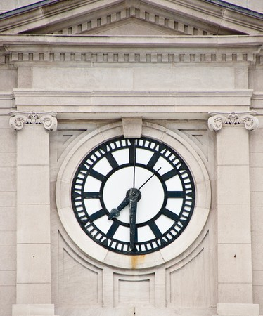Seven Thirty on an old courthouse clock Stock Photo
