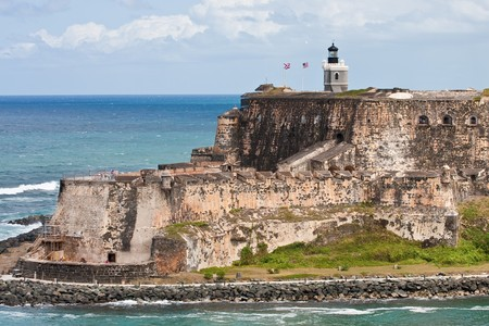 An old stone fort on a point of land in Puerto Rico